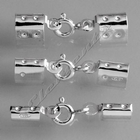 Sterling Silver Folding Crimps with Integral Bolt Ring Clasp